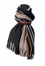 Missoni Black Crochet Knit Oversized Zigzag Fringe Scarf