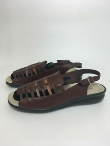 WOMENS HOTTER MICHELLE BROWN WOVEN LEATHER SLING BACK COMFORT SANDALS UK 8 STD