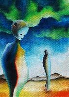 Original ACEO OIL ART DREAMY fantasy people landscape PAINTING mystyc MINIATURE