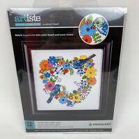 "Artiste Counted Cross Stitch Kit ""Lovebirds Wreath"" New in Open Package"
