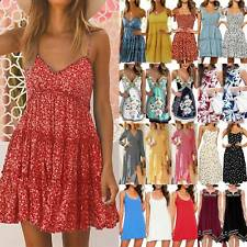 Womens Boho Floral Summer Beach Dress Party Casual Holiday Mini Midi Sundress