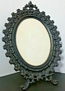Antique Oval CAST IRON Metal EASEL BACK DESK MANTEL FRAME PICTURE EMIG 1501