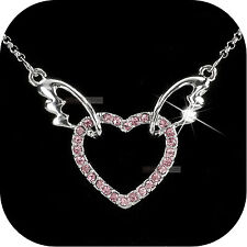 18k white gold gf made with swarovski crystal heart angel wings pendant necklace