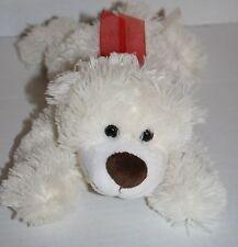 """Dan Dee TEDDY BEAR 11"""" Soft Toy Stuffed Red Bow Cream Ivory Plush Lying Down"""