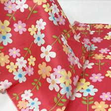 daisey flowers on peachy red 100% pure cotton poplin fabric crafts dress shirt