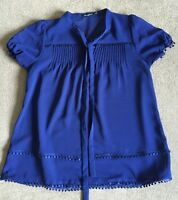 Atmosphere Sheer Tunic Top Blue UK Size 10 VGC !