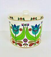 "Vintage Bisquick Flour Tin Floral Graphics Retro Tulip Design Recipes on Back 6"""