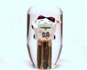 Maneki Neko Black/Gold Lucky Cat 90mm Shift Knob - 12 x 1.25 thread