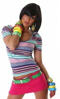 Top Donna Maglietta T-Shirt Maniche Corte Righe Maglia Elasticizzata NUOVA sexy