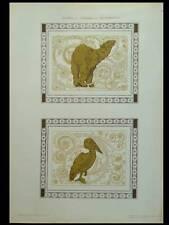 ANIMAUX, OURS ET PELICAN -1910- LITHOGRAPHIE DOREE ART NOUVEAU