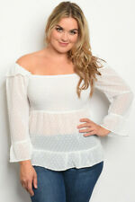 Womens Plus Size White Babydoll Top 3XL Long Sleeve Sheer Smocked Polka Dot