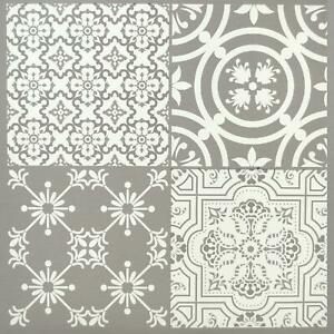 Floor Tiles Self Adhesive Vinyl Flooring Kitchen Bathroom Patterned Light Grey