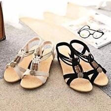Hot Women Beads Summer Flat Sandals Bohemia Beach Flip Flops Shoes BS