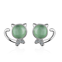 Cute Solid 925 Sterling Silver Green Opal Cat Ear Stud Earrings Women Jewelry