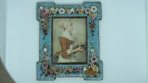 ANTIQUE ITALIAN BRASS BACK MICRO MOSAIC PICTURE FRAME RAISED FLOWERS