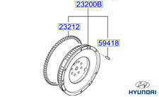 Genuine Hyundai Tucson Flywheel Assembly - 232002A810