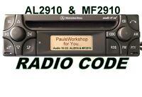 Radio Code 24H Mercedes Benz Audio 10 CD MF2910 AL2910 AL/MF2199 Becker Alpine