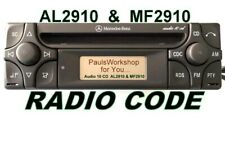 Original Radio Code 24H Mercedes Benz Audio 10 Alpine CD MF2910 AL2910 AL2199
