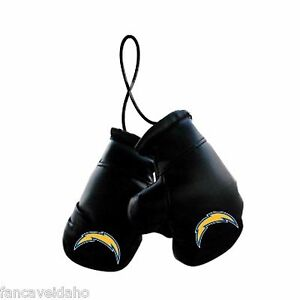 """NFL Los Angeles Chargers 4"""" Mini Boxing Gloves Rearview Mirror Auto Ornament"""