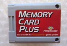 Nintendo 64 N64 MEMORY CARD PLUS Controller Pack SAVE UR GAMES More Space! GREAT
