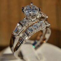 Solid 10K White Gold Fn Women's Diamond Engagement Ring Wedding Bridal Band Set