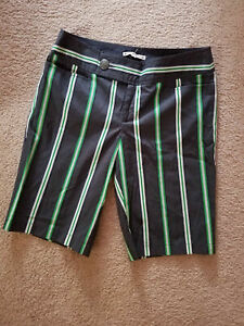 NANETTE LEPORE Bermuda Walking Shorts Size 4 Black Green White Striped