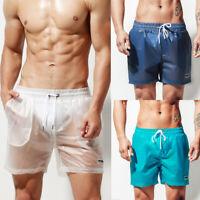 Desmiit Men Summer Transparent Board Shorts Casual Beach Surf Loose Swim Trunks