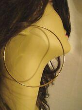 LARGE 3.5 INCH SIMPLE THIN HOOP EARRINGS GOLD TONE HOOP EARRINGS
