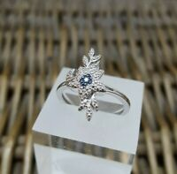 Blue Diamond Sterling Silver Ring, Leaf Shape, Size P½, US Size 8 , 925 Silver