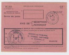 1961 Tunisia Kairouan Avis De Reception - Notice Of Delivery Marseille