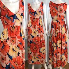 $358 Elie Tahari Beatrice Delta Blue Print Jersey Sleeveless Long Maxi Dress