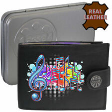 Music Notes Bubbles Mens Black Leather Wallet Musical Accessory Printed gift