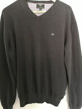 Fynch-Hatton Mens Jumper Sz Large V Neck 100% Superfine Cotton Blue Sweater Top