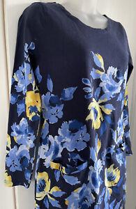Joules Quinn Tunic Jumper Dress UK 12 Blue Floral Jersey VGC