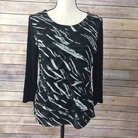 Chicos Travelers Womens Knit Top Size 1 Black  White 3/4 Sleeve