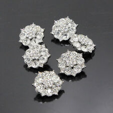 8Pcs Clear Rhinestone Circle Flower Crystal Buttons Silver Tone Sewing Craft NEW