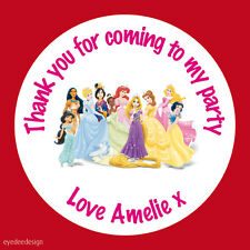 35x Personalised Princess Round 37mm Birthday Stickers Label Party Thank You 101