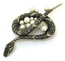 Schlange Brosche Perle, Perlen & Markasit   925er Silber
