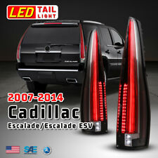 Led Tail Lights For 07 14 Cadillac Escalade Assembly Rear Lamps Black Clear Pair