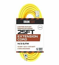 25 Foot Lighted Outdoor Extension Cord - 14/3 Sjtw Heavy Duty Yellow Extension C