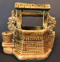 McCoy USA Grant a WISH to ME Wishing Well Planter Pottery  Brown Greens
