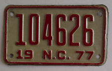 Vintage 1977 NC (North Carolina) Motorcycle License Plate # 104626