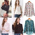 Womens Casual Soft Chiffon T-shirts Shirt Long Sleeve Floral Print Tops Blouse