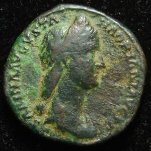 Sabina AE dupondius, PIETAS AVG S C, Rome mint 136AD - RIC II 1040 - RARE
