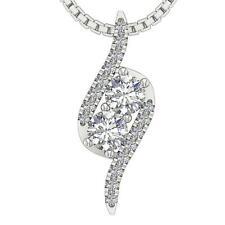 Forever Us Two Stone Fashion Pendant I1 G 0.50 Ct Natural Diamond 14K White Gold