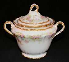 THEODORE HAVILAND LIMOGES - SUGAR BOWL & LID - SCHLEIGER 142A PINK Double Gold