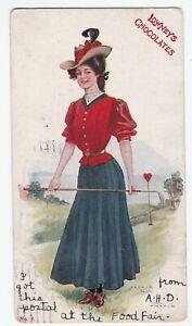 Artist Signed Archie Gunn 1906 Woman Golf Lowney Chocolates Advertising Postcard