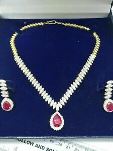 925 Silver 16 CT Multi Cut Ruby CZ 14k Yellow Gold FN Fine Necklace Earrings Set