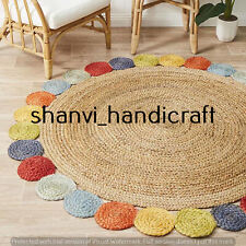 Braided Natural Hand Woven Round Multi Color 4 Feet Jute Rug Area Rug Carpet Mat