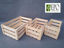 WOODEN BOX STORAGE CONTAINERS CRATE PLAIN WOOD DECOUPAGE HERBS 3 SIZES SET BULK